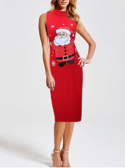 Band Collar Christmas Printed Bodycon Dress