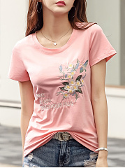 Polyester  Round Neck  Embroidery Floral  Short Sleeve Short Sleeve T-Shirts
