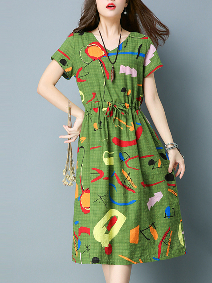 Distinctive Printed Drawstring V-Neck Maxi Dress