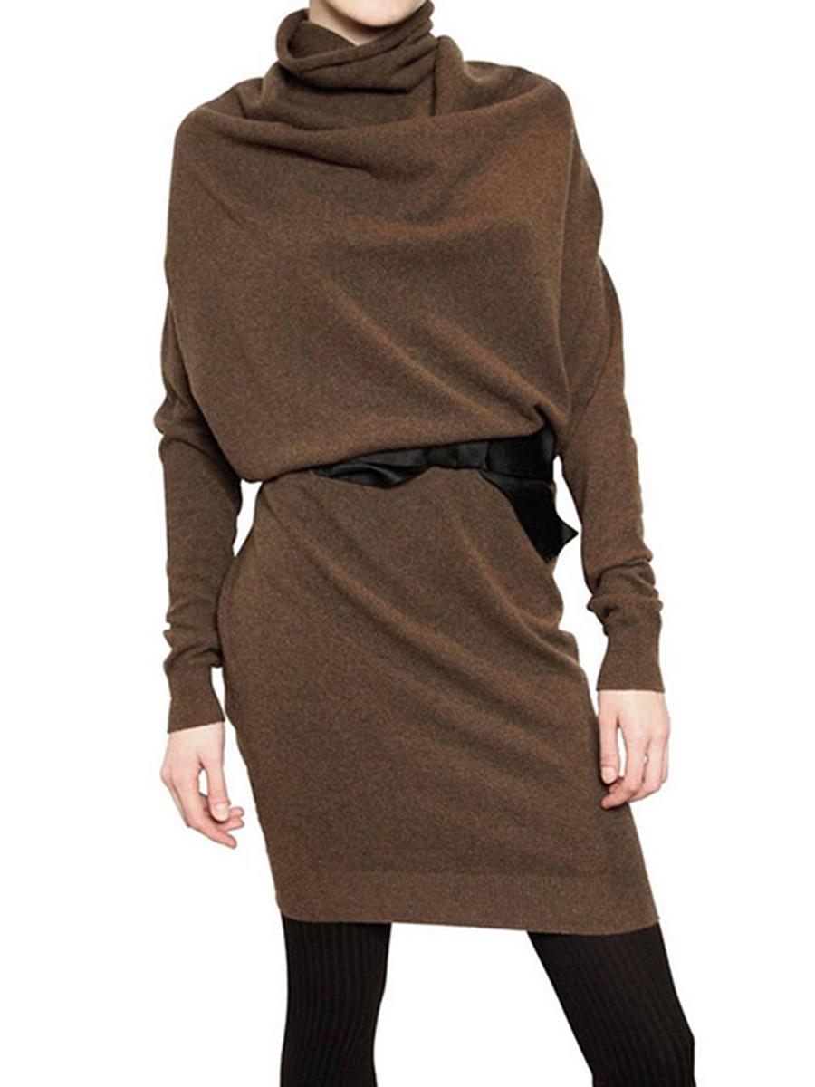 Cowl Neck  Plain  Blend Bodycon Dress