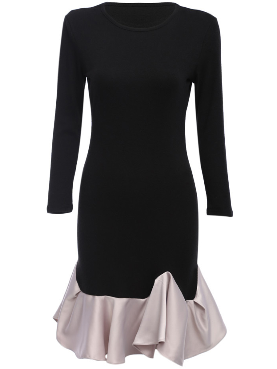 Color Block Ruffled Hem Round Neck Bodycon Dress