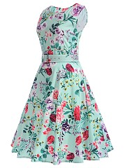 Floral Printed Summer Round Neck Belt Skater Dress