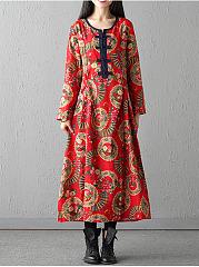 Round-Neck-Tribal-Printed-Pocket-Maxi-Dress