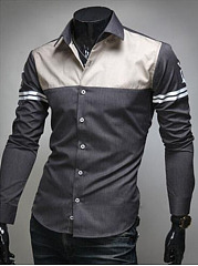 Button Down Collar Color Block Men Shirts