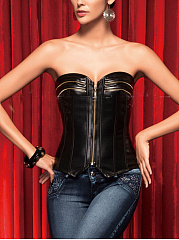 Sexy Pu Leather Zips Victorian Corset