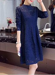 Band Collar Hollow Out Plain Lace Skater Dress