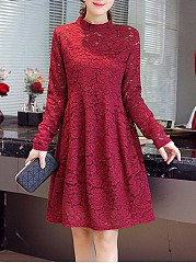 Band-Collar-Hollow-Out-Plain-Lace-Skater-Dress