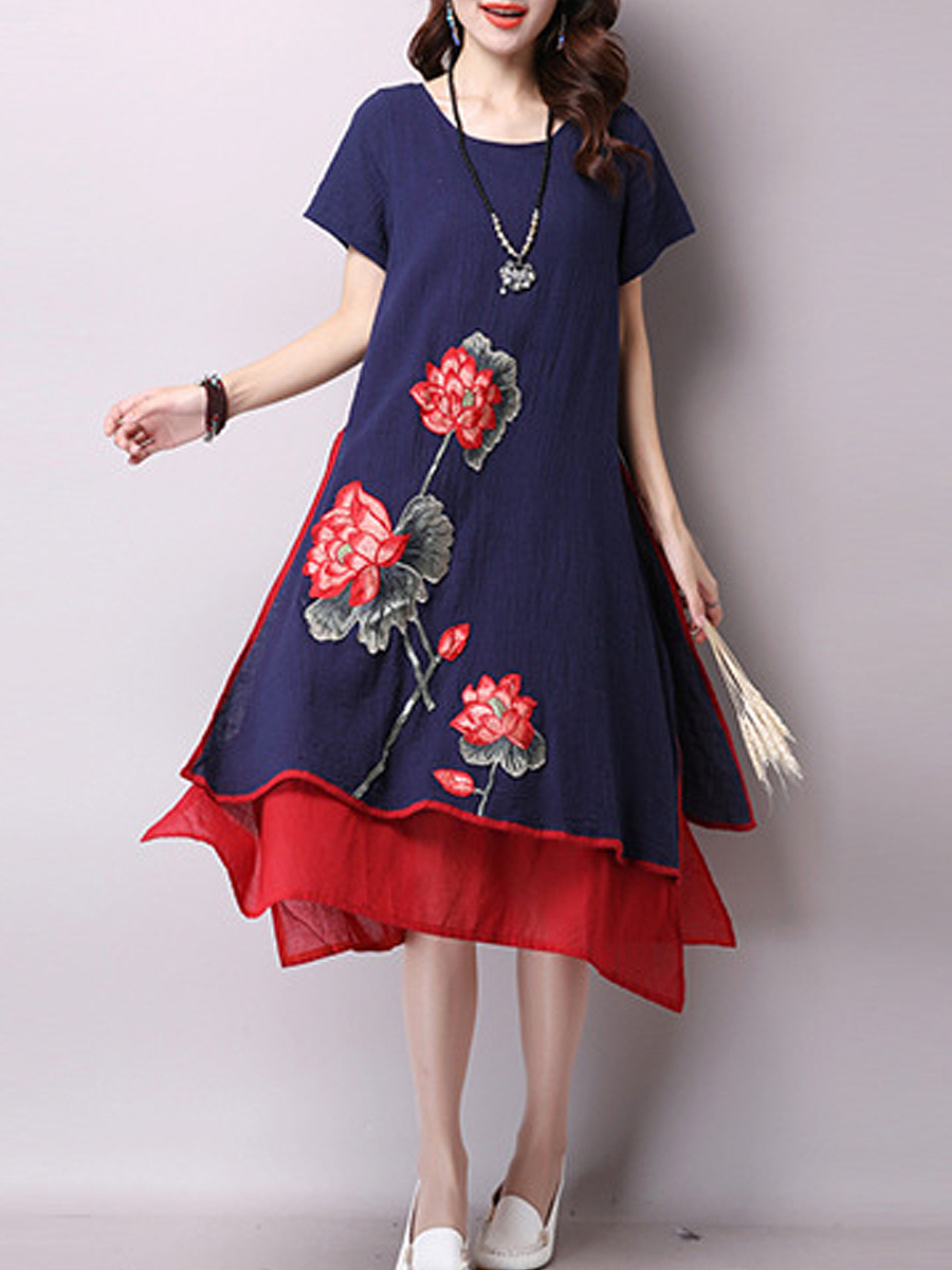 Floral Embroidery Cotton Casual Dress