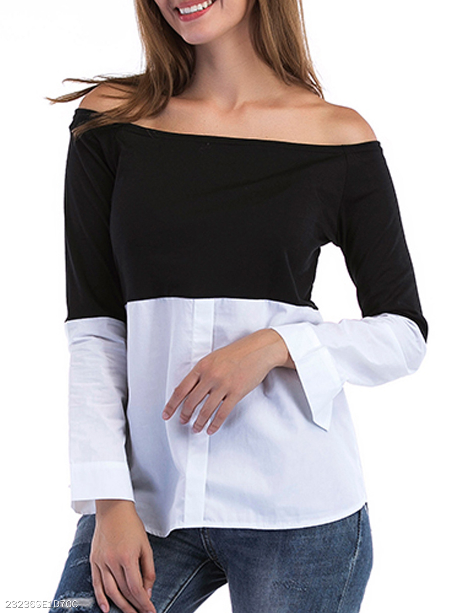 Autumn Spring Summer  Polyester  Women  Off Shoulder  Color Block  Long Sleeve Blouses