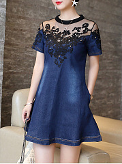 Band Collar Denim Patchwork Hollow Out Mini Skater Dress