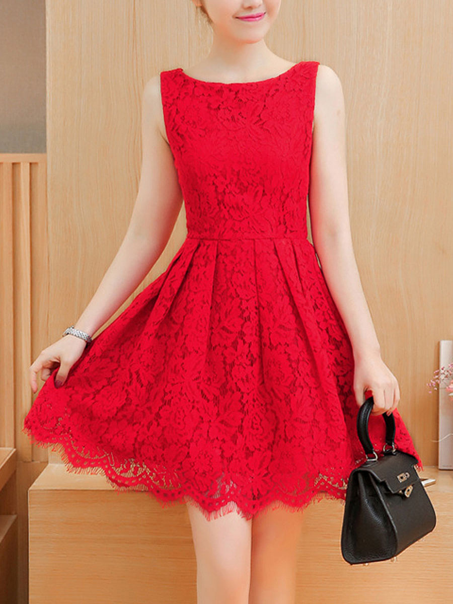 Exquisite Solid Lace Scalloped Hem Round Neck Skater Dress