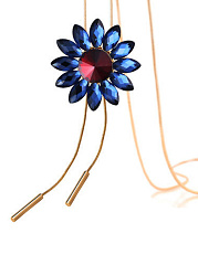 Blue Daisy Gold Long Necklace