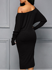 One Shoulder  Plain Plus Size Bodycon Dress
