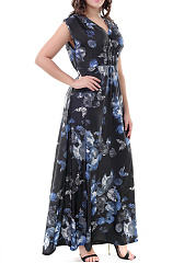 Surplice  Printed Maxi Dress