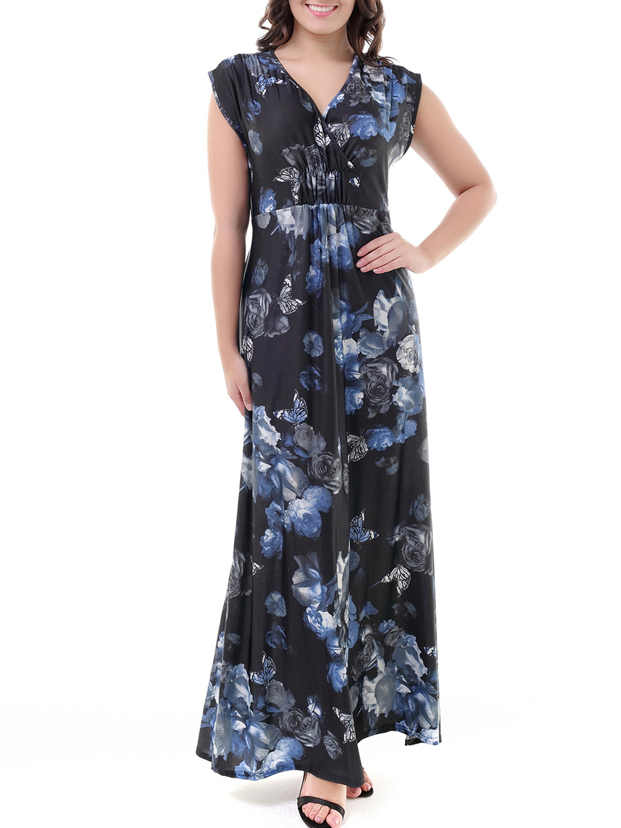 fashion printed casual spring summer empire line Surplice  Printed Maxi Dress