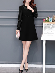 Band Collar  Patch Pocket  Decorative Hardware  Plain Shift Dress