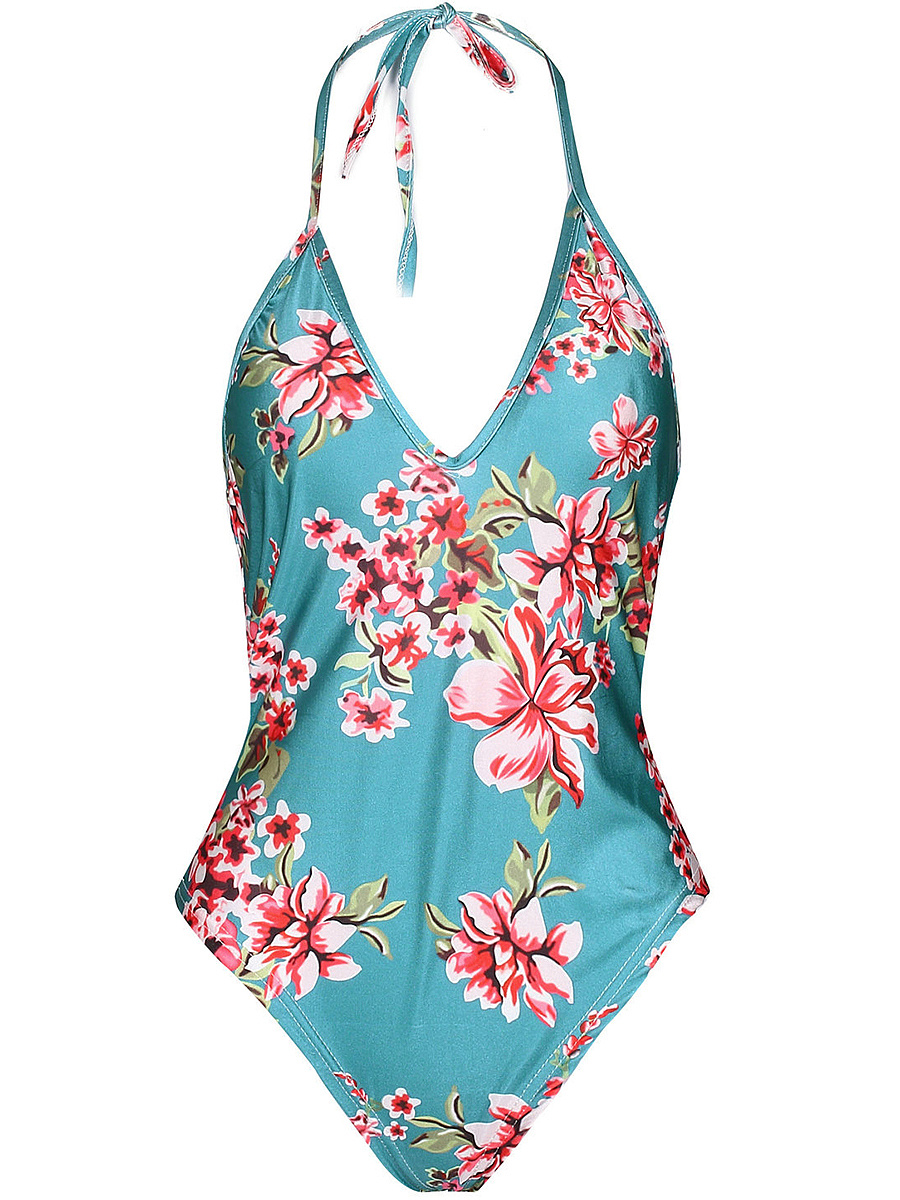 Halter Backless Floral Printed One Piece