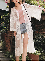 Charming Longline See-Through Plain Lace Kimono