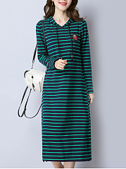 Hooded  Applique Striped Shift Dress