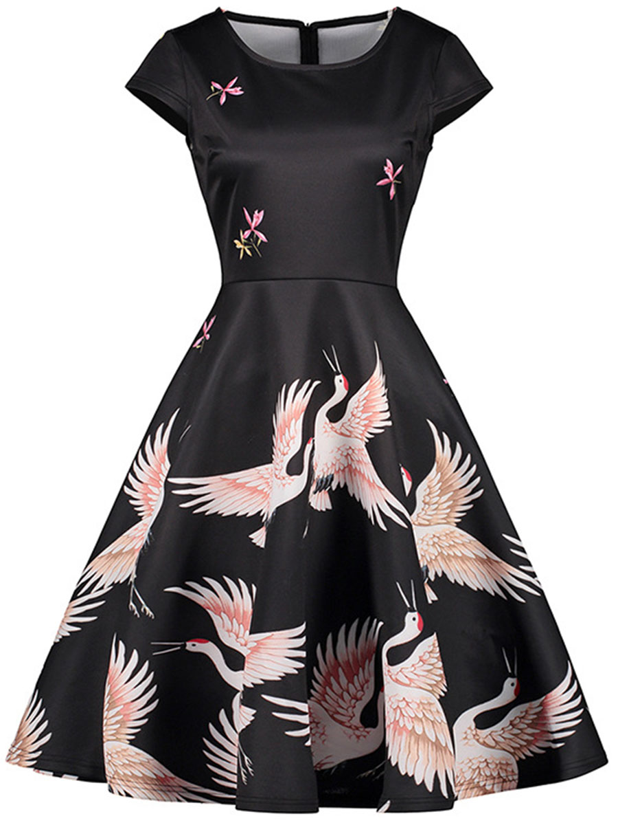 vintage western printed date summer flared Vintage Round Neck Bird Printed Skater Dress