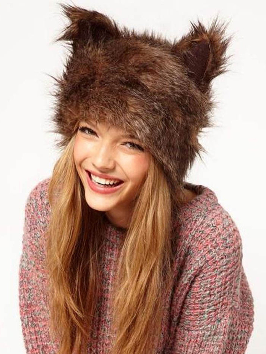 Cute Cartoon Animal Printed Faux Fur Hats