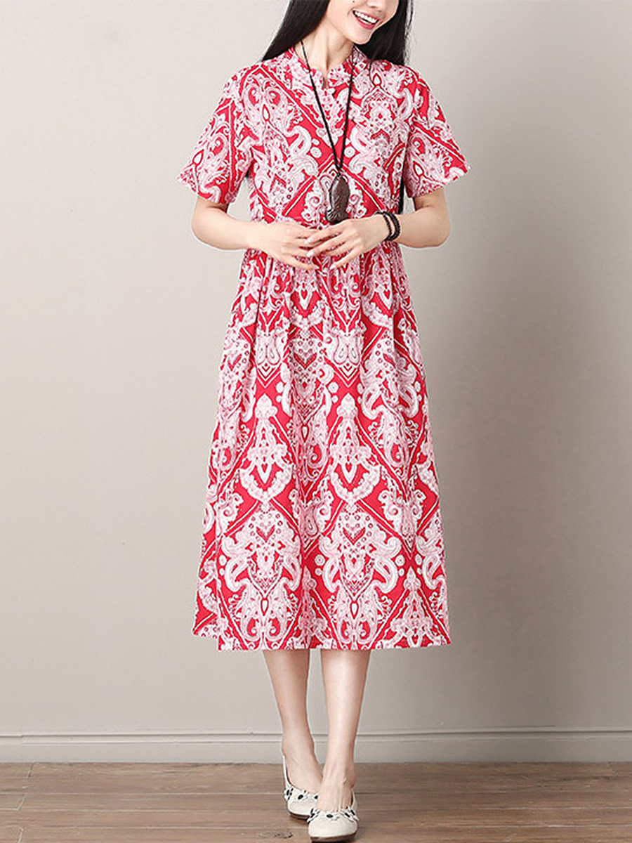 Band Collar  Printed Maxi Dress
