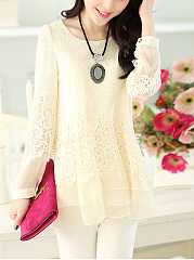 Autumn Spring  Lace  Women  Round Neck  Asymmetric Hem  Hollow Out Plain  Long Sleeve Blouses