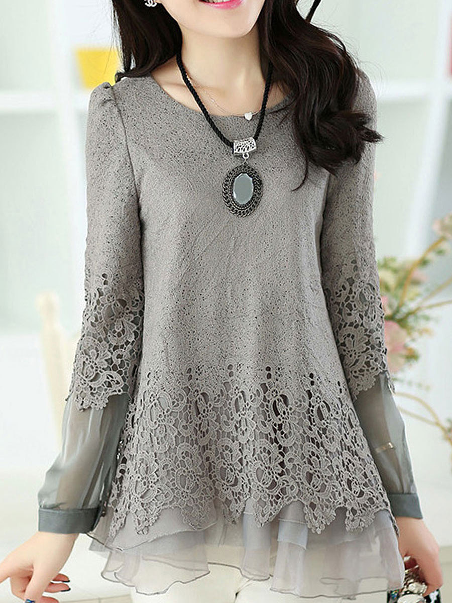 Autumn Spring  Lace  Round Neck  Asymmetric Hem  Hollow Out Plain  Long Sleeve Long Sleeve T-Shirts