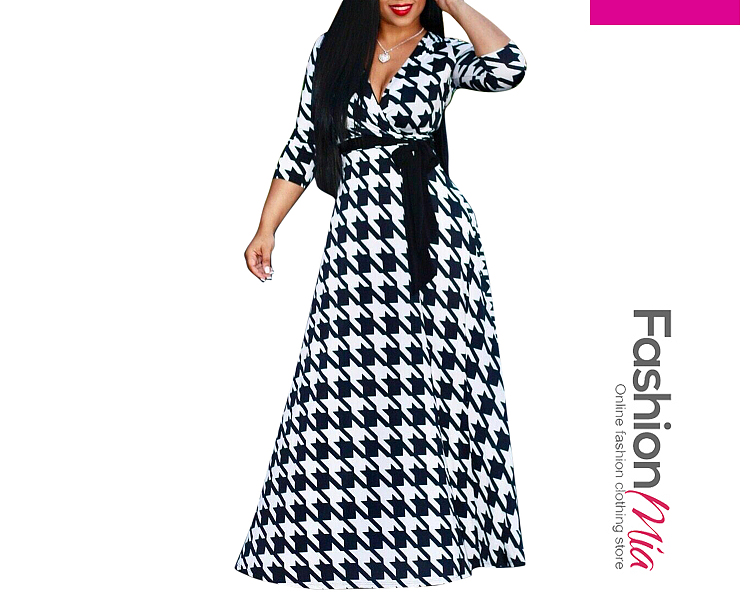 thickness:regular, style:elegant, material:polyester,spandex, collar&neckline:deep v-neck, sleeve:half sleeve, pattern_type:houndstooth, length:ankle-length, occasion:daily, season:spring,summer, dress_silhouette:fitted, package_included:dress*1, lengthbustwaist