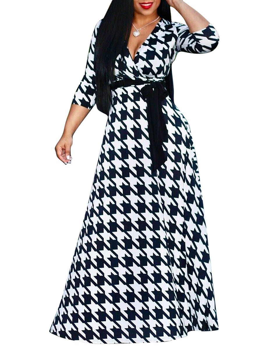 Deep V-Neck  Houndstooth Plus Size Midi & Maxi Dresses