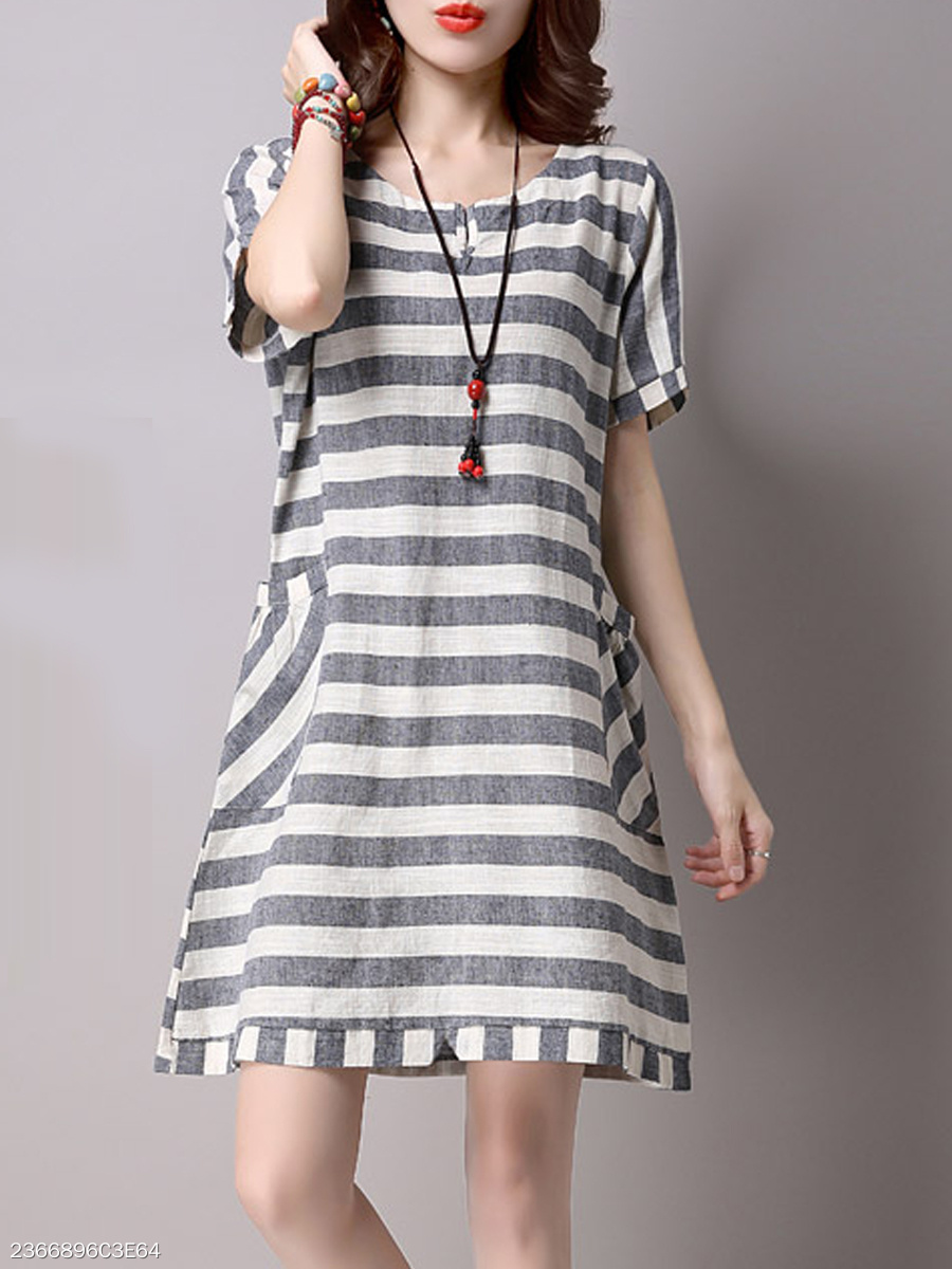 Patch Pocket  Striped  Cotton Shift Dresses