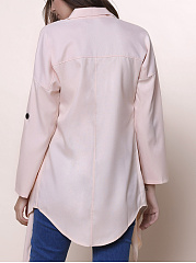 Fold-Over Collar  Plain  Long Sleeve Cardigans