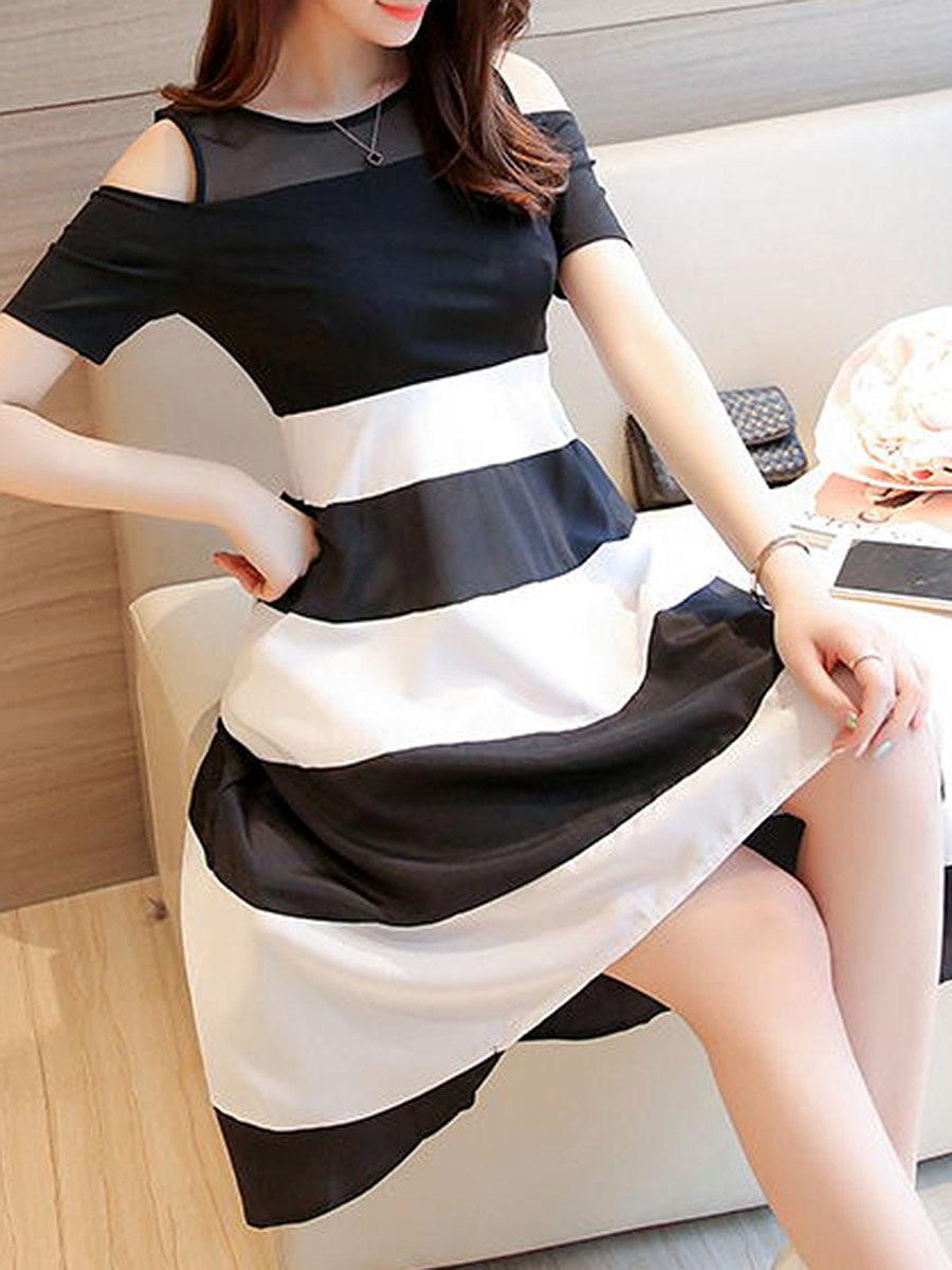 Open Shoulder Color Block Striped Skater Dress