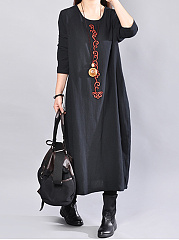 Round-Neck-Embroidery-Loose-Maxi-Dress