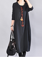 Round Neck Embroidery Loose Maxi Dress