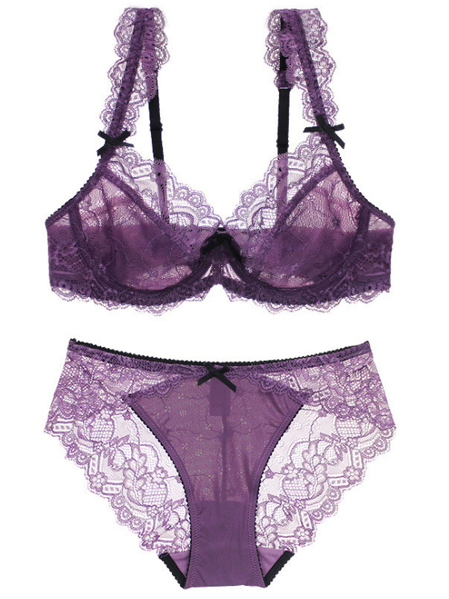 Bowknot Sexy Hollow Out Brief Set