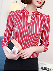 Polyester  Women  V-Neck  Striped  Long Sleeve Blouses