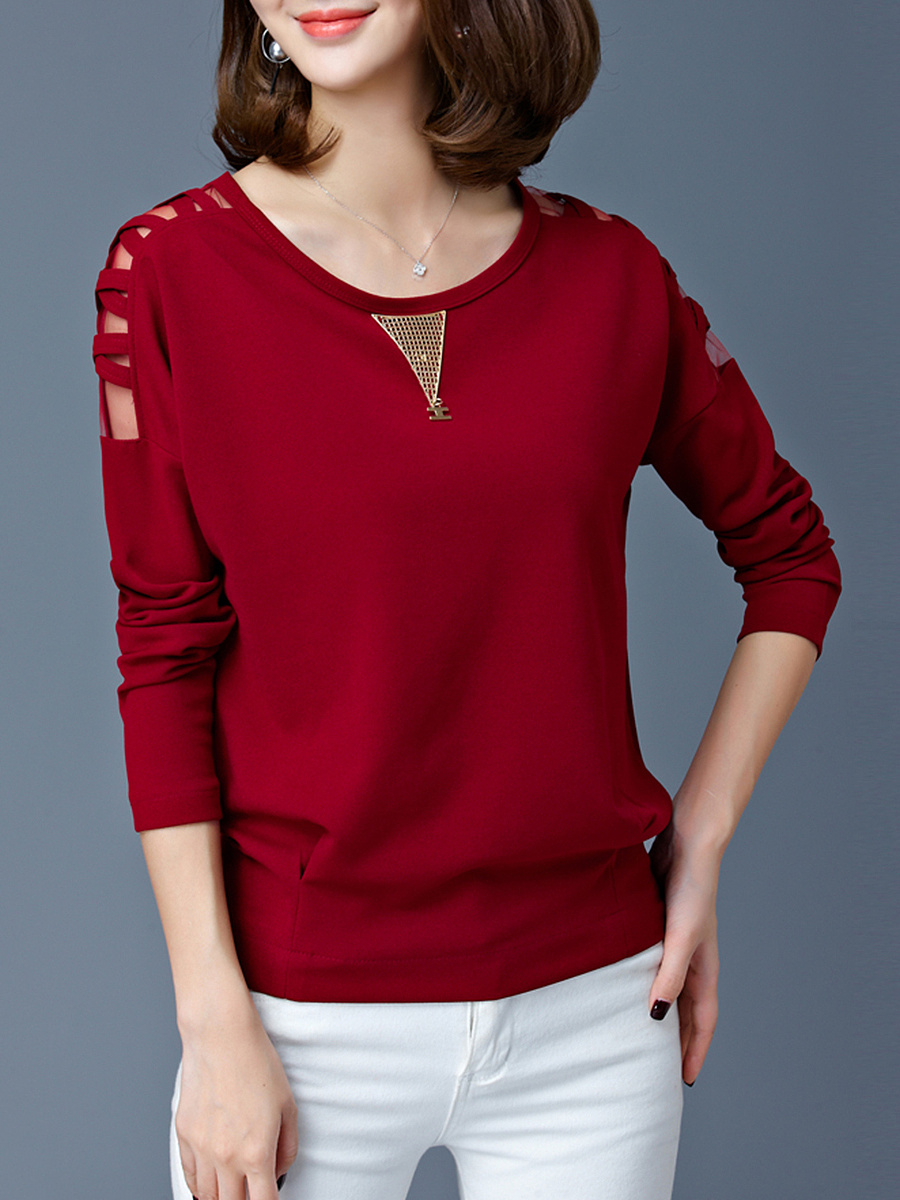 Round Neck Hollow Out Plain Blouse