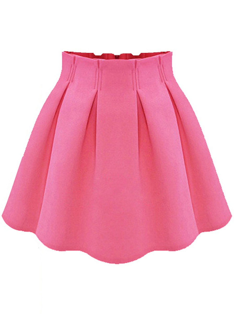 Charming Solid Flared Mini Skirt