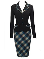 Office Lapel Plaid Bodycon Dress