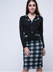 Office-Lapel-Plaid-Bodycon-Dress