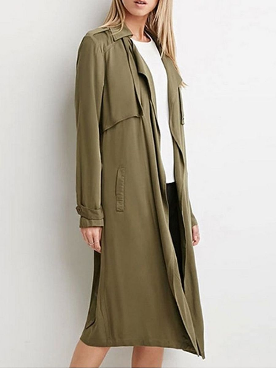 Trendy Small Lapel With Pockets  Trench-Coats