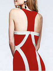 Halter  Backless Patchwork  Contrast Piping  Color Block Evening Dress