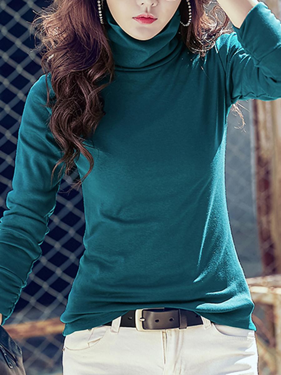 Cowl Neck Plain Long Sleeve T-Shirt