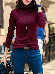 Cowl Neck  Plain Long Sleeve T-Shirt