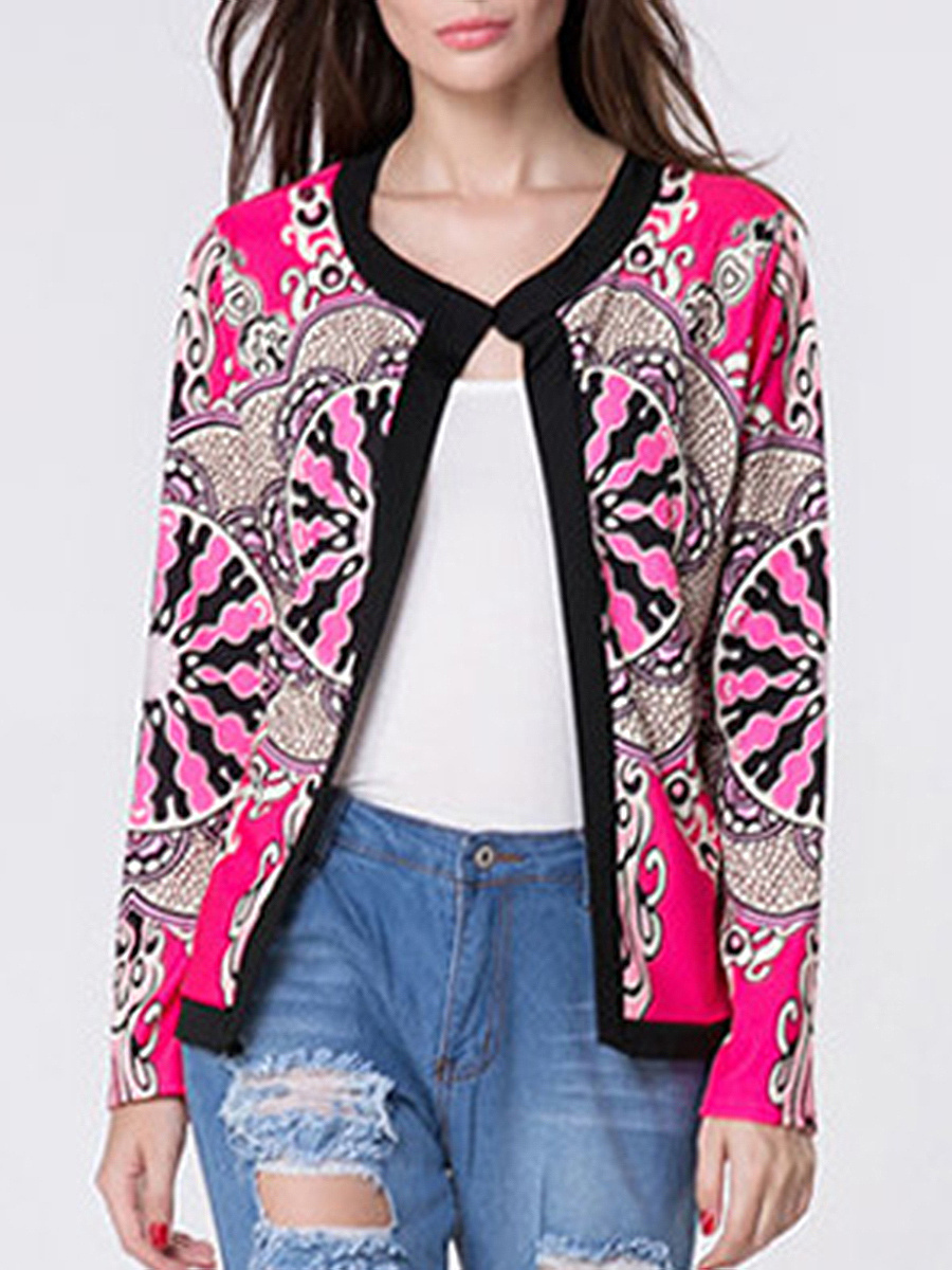 Collarless  Abstract Print  Long Sleeve Jackets