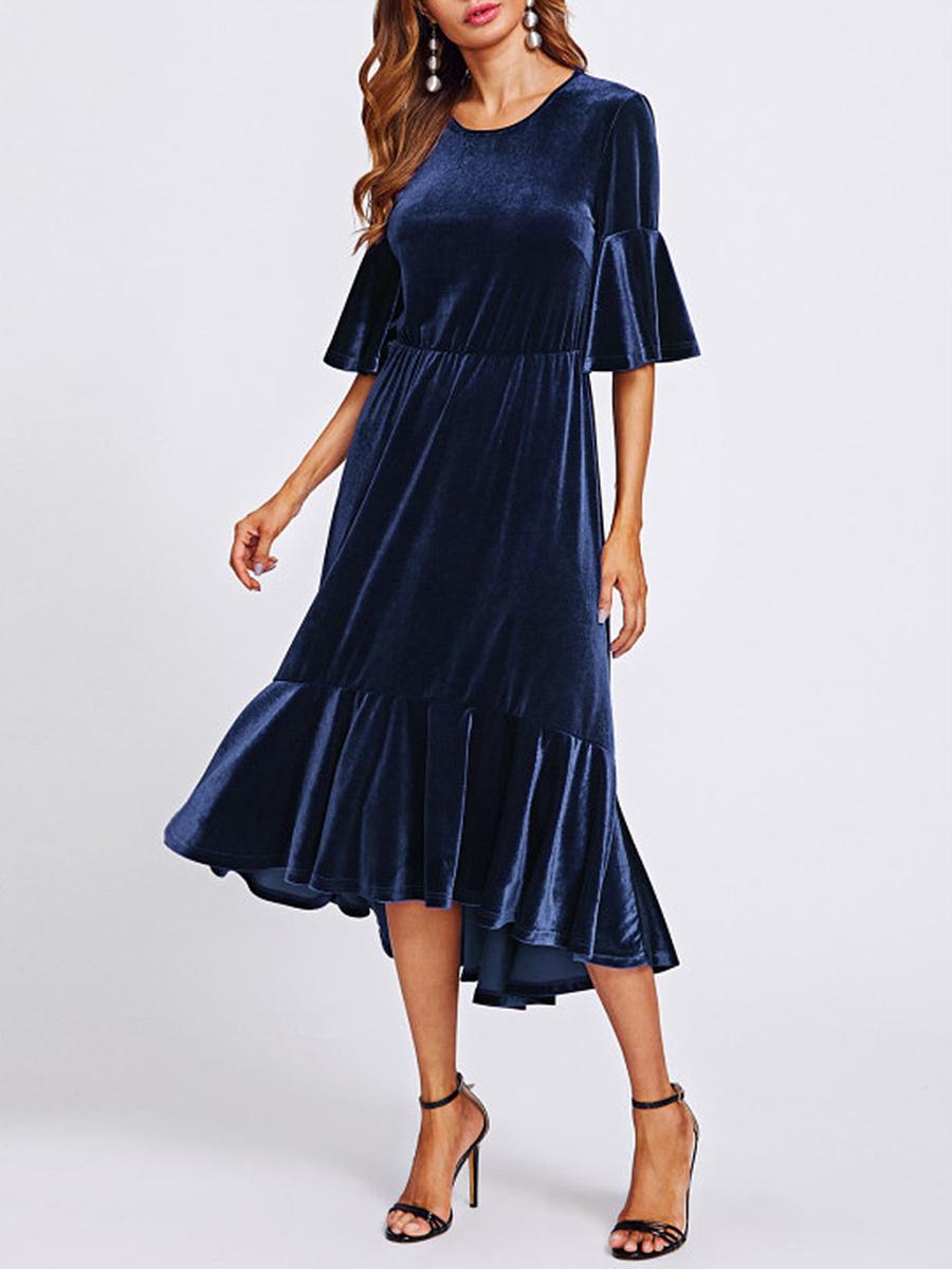 Round Neck  Elastic Waist  Plain Maxi Dress
