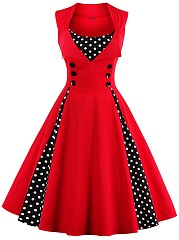 Vintage Polka Dot Sweet Heart Skater Dress