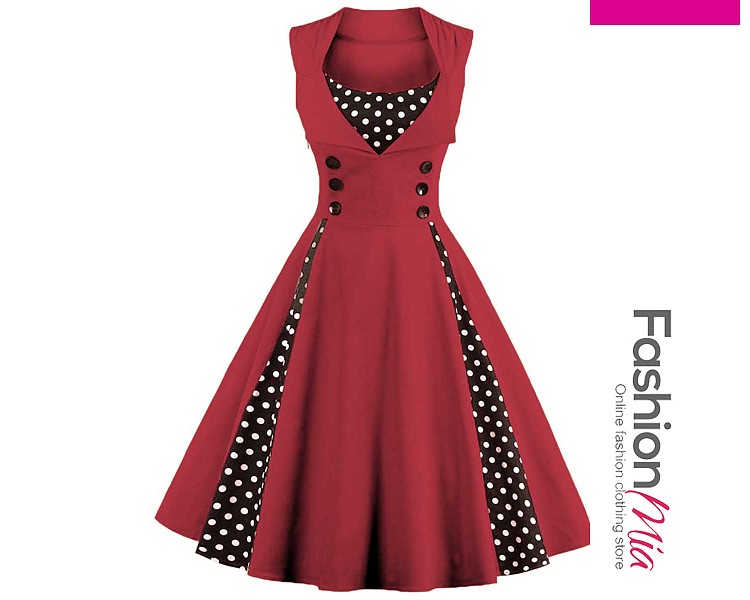 thickness:regular, brand_name:fashionmia, style:vintage, material:cotton blend, collar&neckline:sweet heart, sleeve:sleeveless, pattern_type:polka dot, length:knee-length, occasion:date,party, season:summer, dress_silhouette:flared, package_included:dress*1, lengthshoulderbustwaist