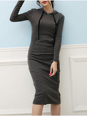 Hooded  Plain Bodycon Dress